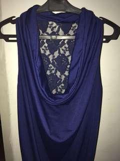 Navy blue sexy back dress