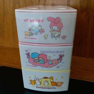 Sanrio My Melody & LTS & 布甸狗 2018 迷你膠櫃桶連Memo, (可疊起), $35each ,100% New