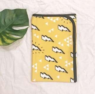 Yellow Lightning Bolt Travel/Stoller Baby Blanket