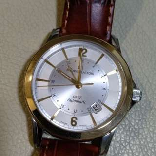18K rose gold bezel stainless steel case GMT Maurice Lacroix