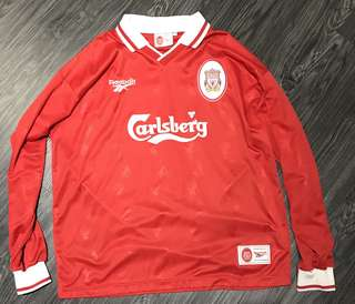 Rare and Vintage Liverpool 96/97 L Home Long sleeve Jersey (Redknapp 11)