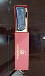 Coin key crocodile leather zip pouch