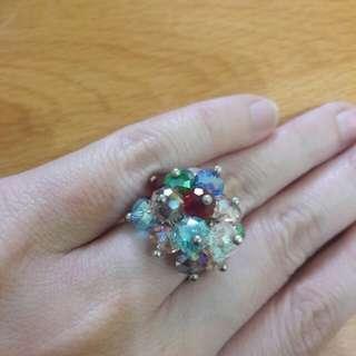 Preloved Cincin Batu Silver Warna Warni Fashion Import Korea