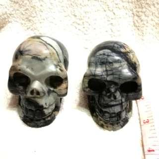 🚚 3-in Natural Semiprecious Stone Skeleton Skulls #Caroupay 全天然的半宝石骷髅头