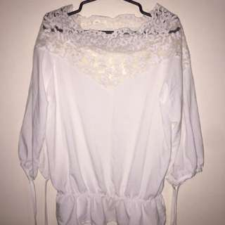 White Lacey Top