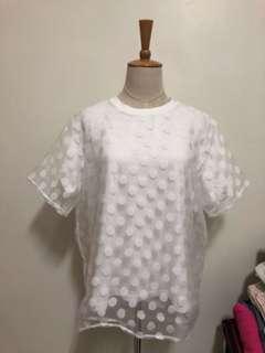 正韓當季新款點點顯白特色上衣