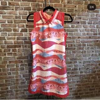 Plains and Prints Collar Dress