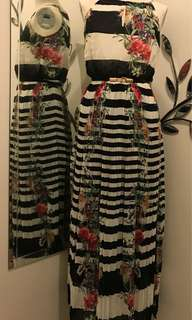 Black/ White/ Red Flower style Dress