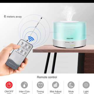 New 500ml Remote Control Ultrasonic Air Aroma Humidifier With 7 Color LED Lights Electric Aromatherapy Essential Oil Aroma Diffuser
