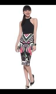 Love Bonito Shammis Graphic Pencil Skirt Small