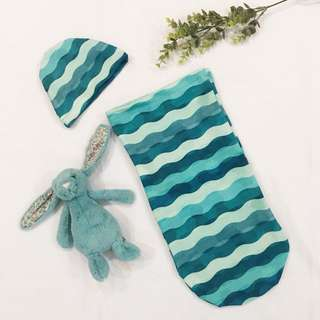Blue Waves Cocoon Swaddle with Hat