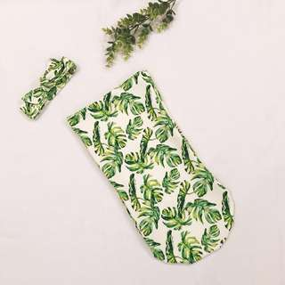Monstera Leaf Cocoon Swaddle (with Headband or Hat)
