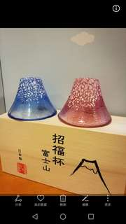 日本清酒杯 sake glass 全新 富士山 招福杯 made in japan