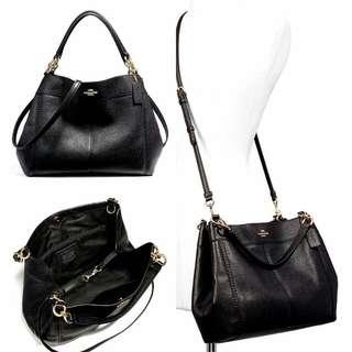 Coach#F23537Pebbled Leather Small Lexy Shoulder Bag BLACK size 32-28x23x10cm