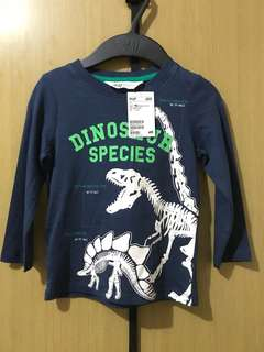 Brand New H&M Dark Blue Dinosaur Longsleeves Top