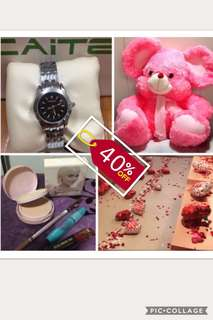 Bundle gift set!!! Huge Stuffed Toy, Cosmetic Set ( Pressed Powder, Lip & Cheek Tint, Maskara, Eyebrow Pencil) Balloons