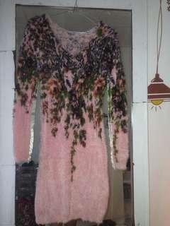 Dress bagus bahan bulu lembut