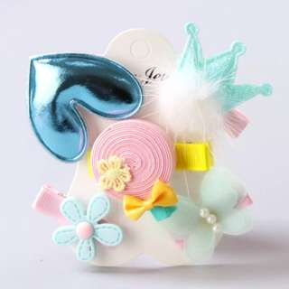 *In Stock* BN Pretty Girls' Assorted Chiffon Butterfly Flower Puffy Heart Crown Hair Clips Accessories Set
