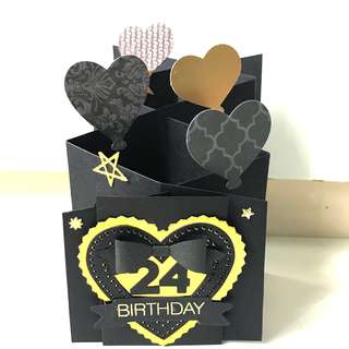 24 birthday handmade card with a note