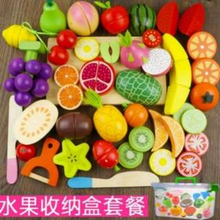 BN Deluxe Wooden Magnetic Assorted Healthy Fruits Cutting Foods Toy Play Set
