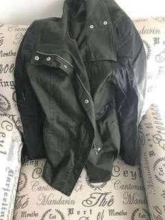 H & M faux leather sleeve jacket