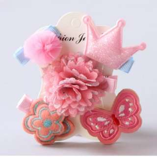 BN Pretty Girls' Assorted Chiffon Flowers Butterfly Crown Hair Clips Accessories Set