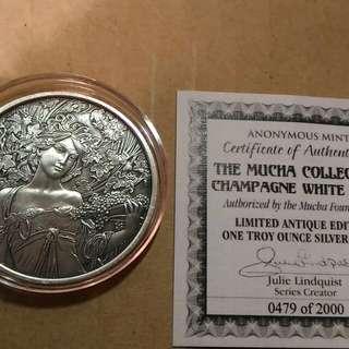 美國仿古銀幣,仿古銀幣,收藏錢幣,錢幣,紀念幣,銀幣,幣,silver coin,silver~美國慕哈仿古銀幣(全世界只有二千枚,9999純銀鑄造,全新一盎司,有原廠保證書)(The silver coin 1oz)