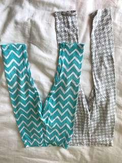Set of printed girls leggings
