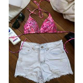 Pink Floral String Bikini
