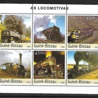 幾內亞比紹2003火車頭版張MS全新