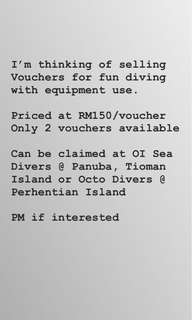 Fun diving vouchers with rental equipments
