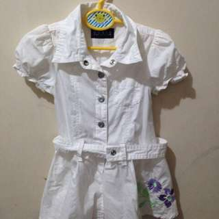 Guess Baby Embroidered White Polo Dress 2T