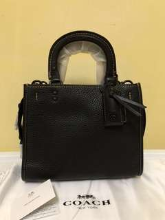 Readystock! Coach Rogue 25 in glove-tanned pebbled leather - black