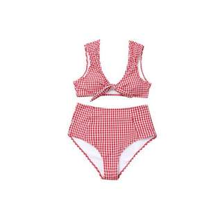 Red gingham highwaist swimsuit