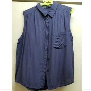 Maldita Crop Dark Blue Button Down Shirt