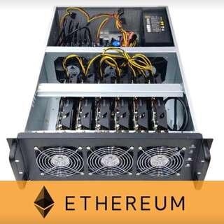 [3月頭購入] ETH 專用挖礦機 Advanced 180MH (6 顯示卡) 每月最高可挖ETH 數量:0.48