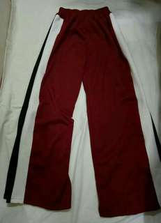 Track pants with slit on the side