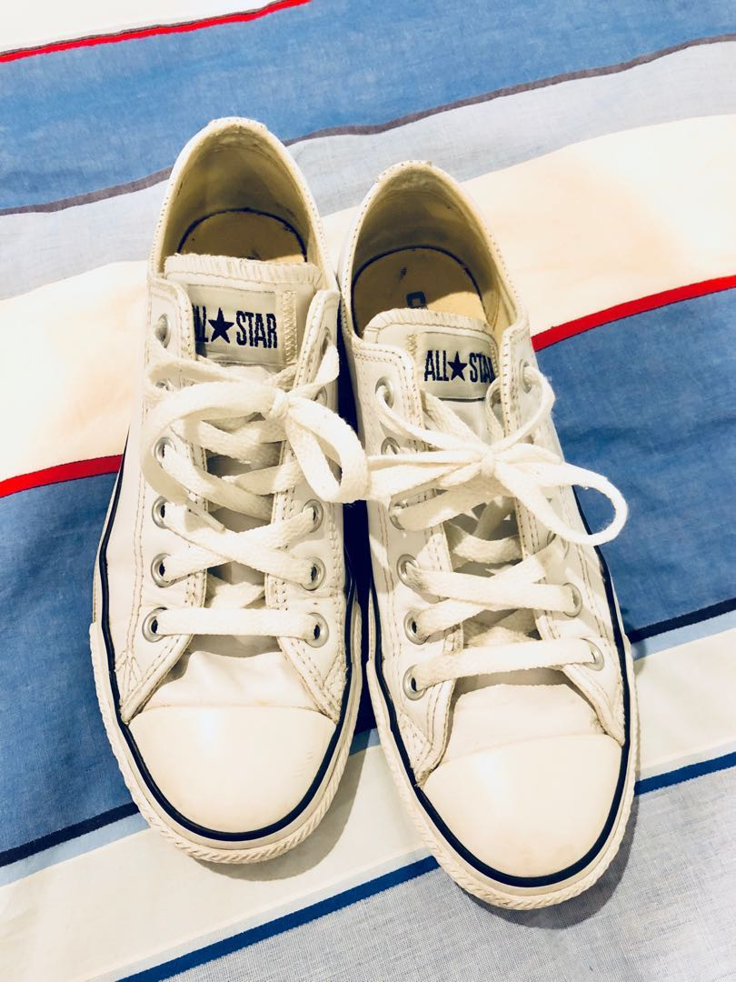 All Star white real leather sneakers