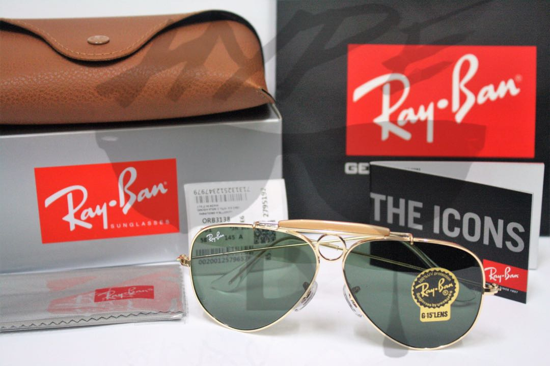 ea1aabc8a3 Authentic Ray Ban Aviator Shooter RB3138 001 58MM G15.