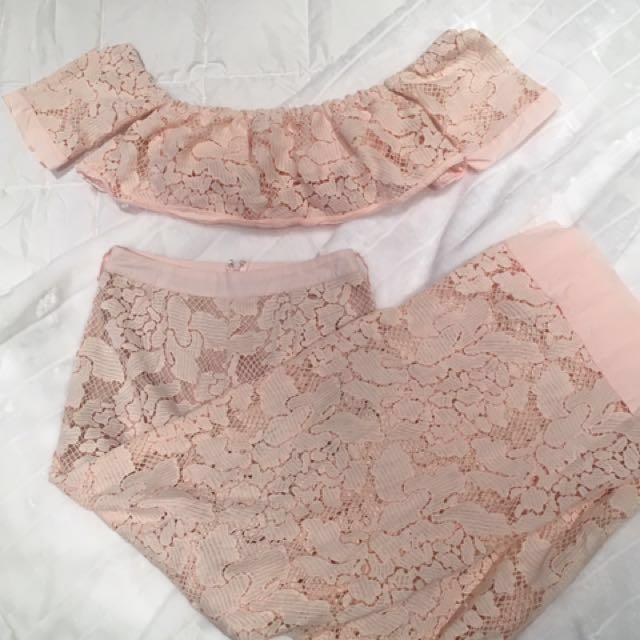 Blush lace coordinate set