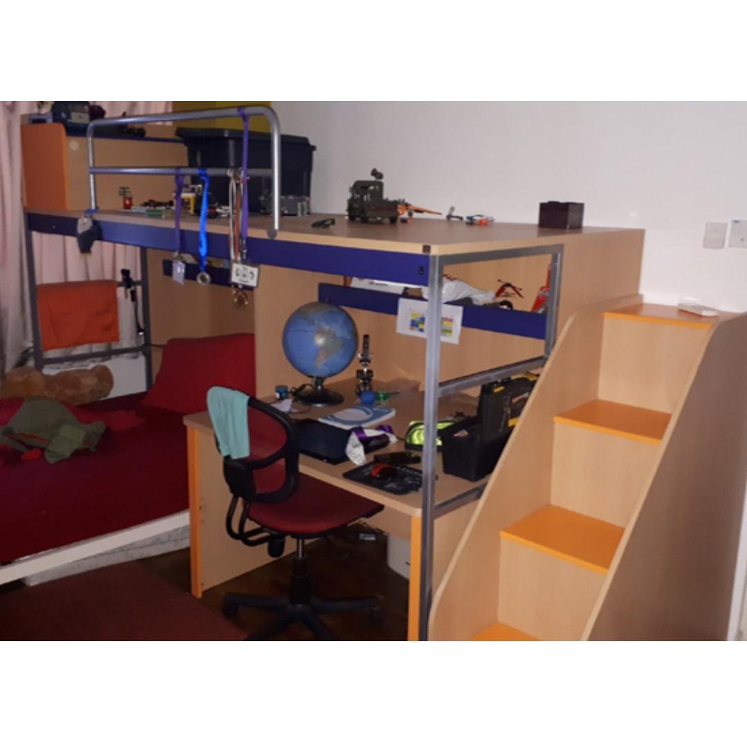 Childs Bunk Bed Desk Bookshelves And Storage Furniture Beds