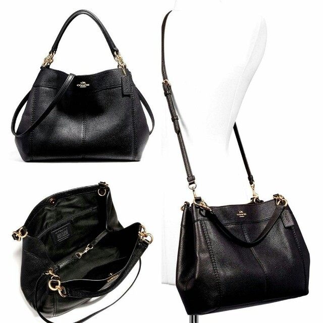 Coach  F23537 Pebbled Leather Small Lexy Shoulder Bag BLACK size 32 ... e30cb76ecab5d