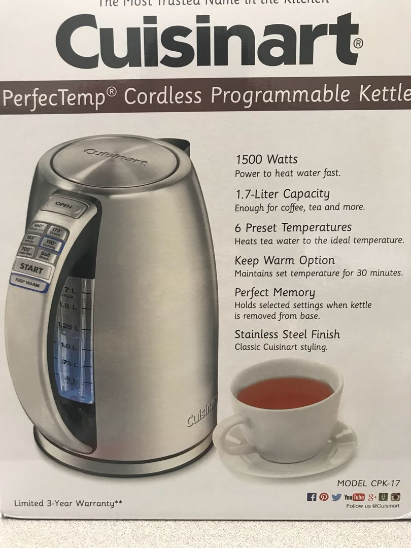 Cuisinart perfec temp cordless kettle - cpk-17