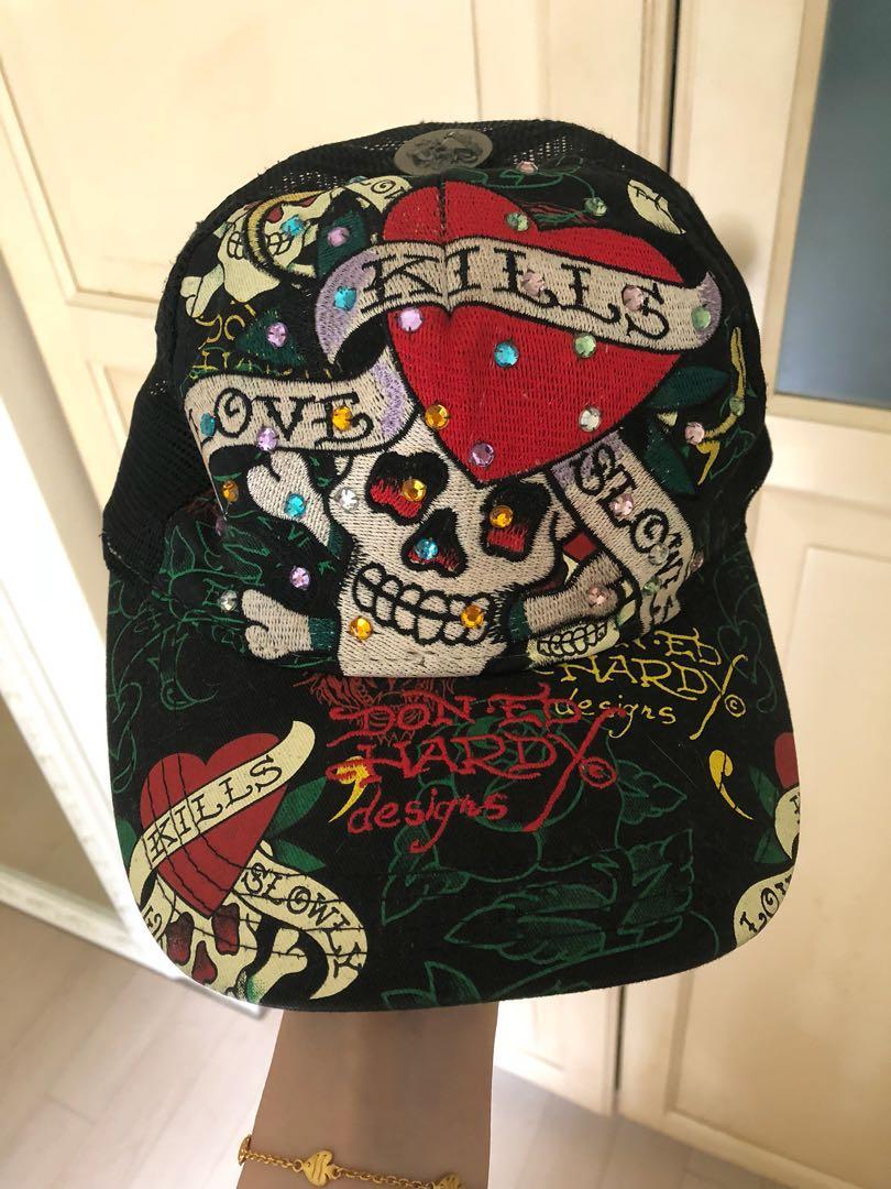 ED Hardy-刺繡網帽