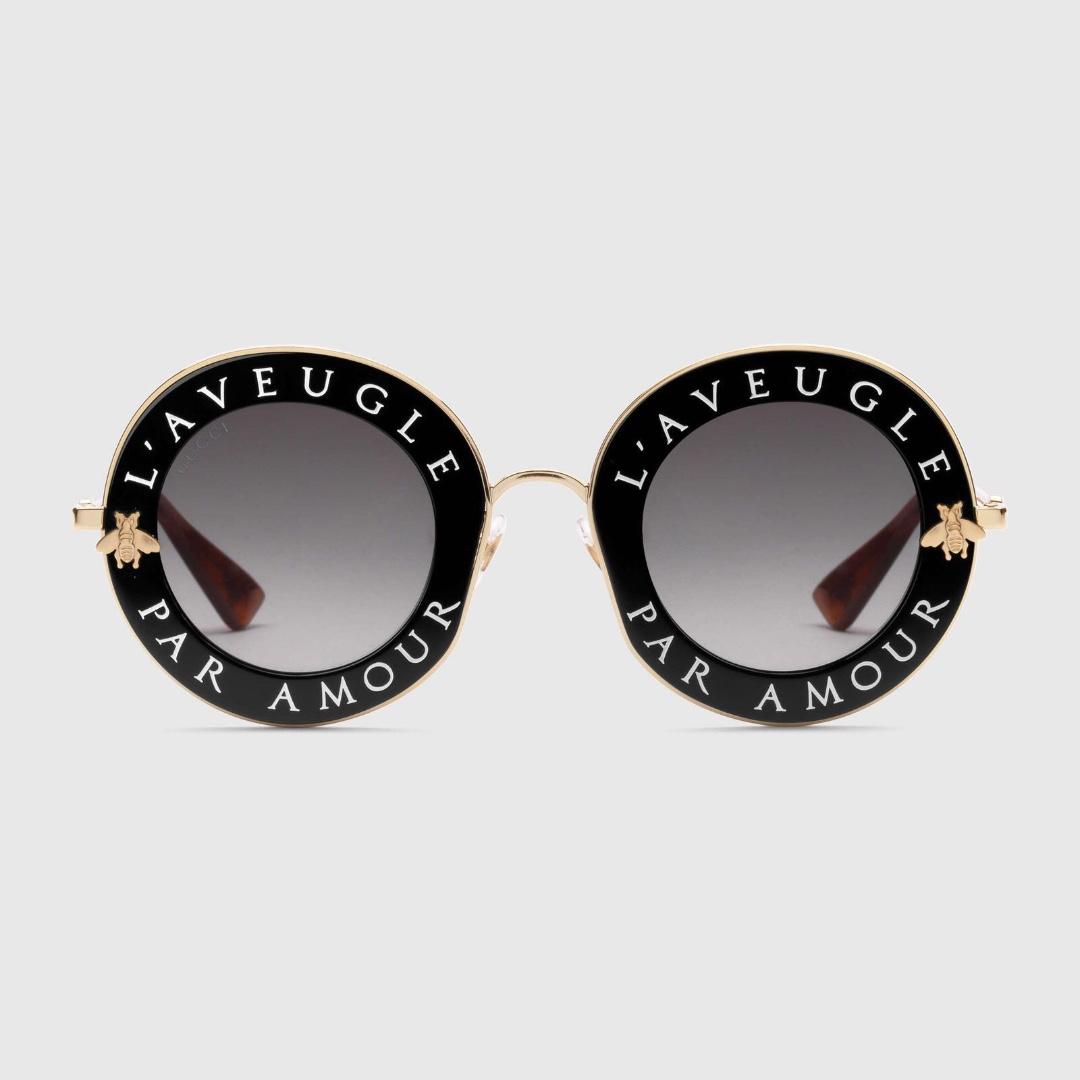 16c5baf86f4 Gucci L Aveugle Par Amour Round Sunglasses