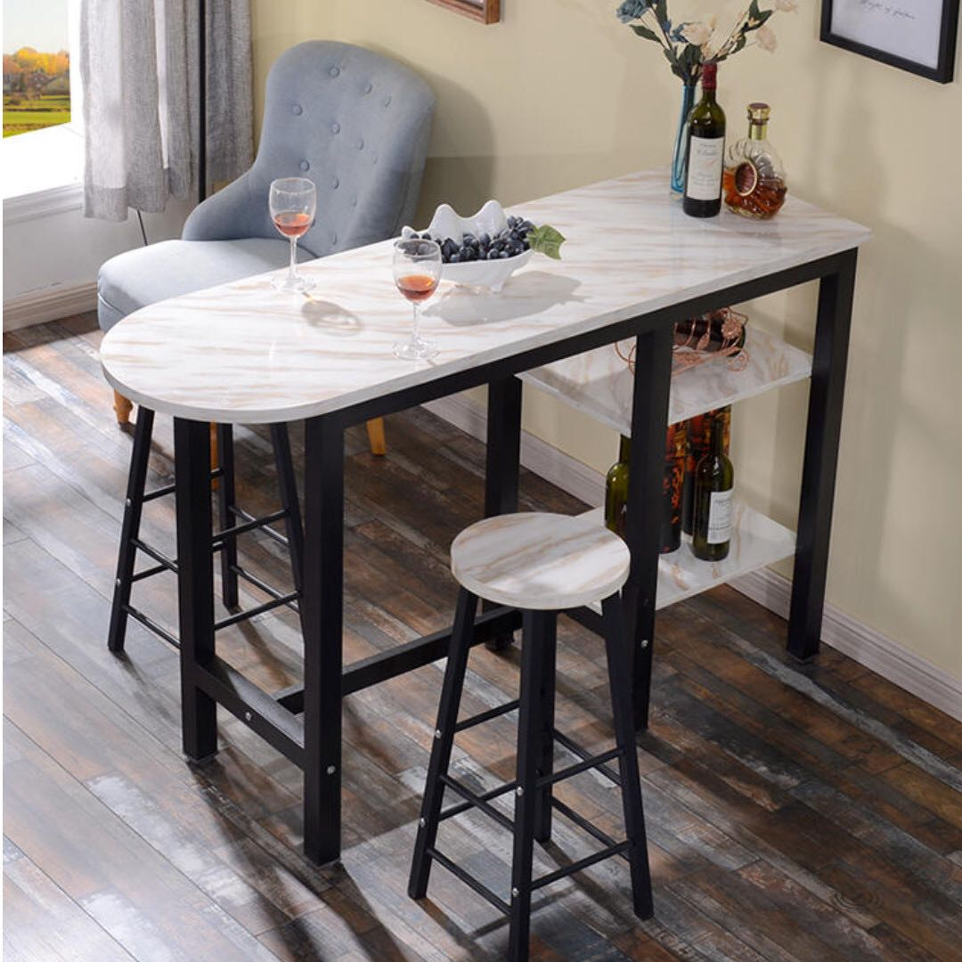 Marble Bar Table n Bar Stool Set, Furniture, Tables & Chairs on
