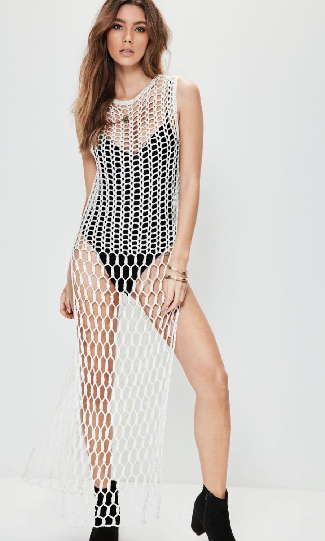 MISSGUIDED MIX STITCH KNITTED MAXI DRESS - WHITE - SIZE 12 (M)