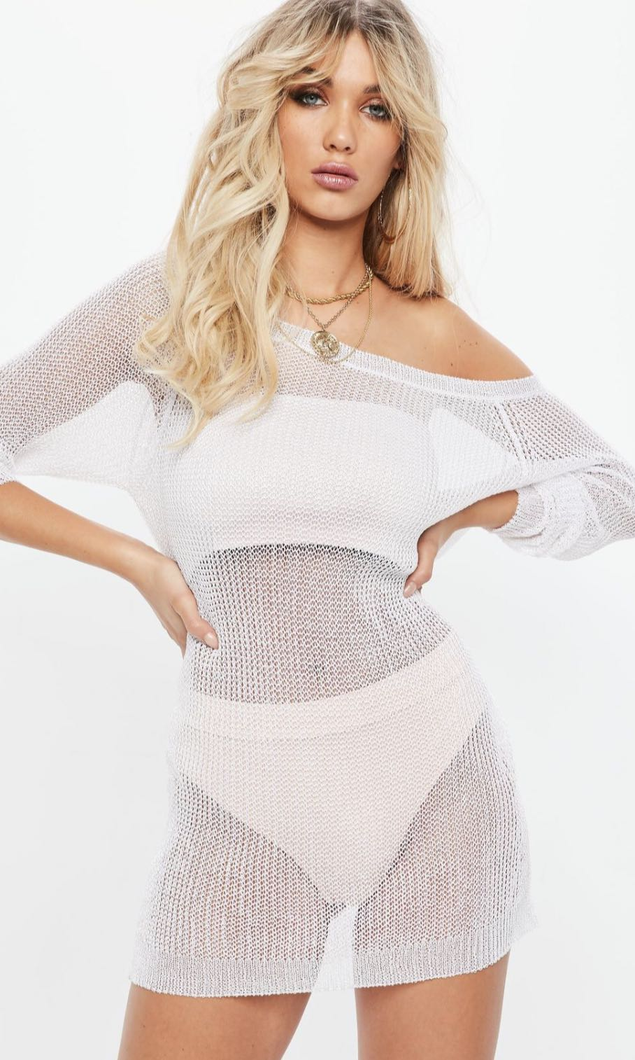 MISSGUIDED WHITE METALLIC OFF SHOULDER KNITTED JUMPER DRESS - SIZE 10