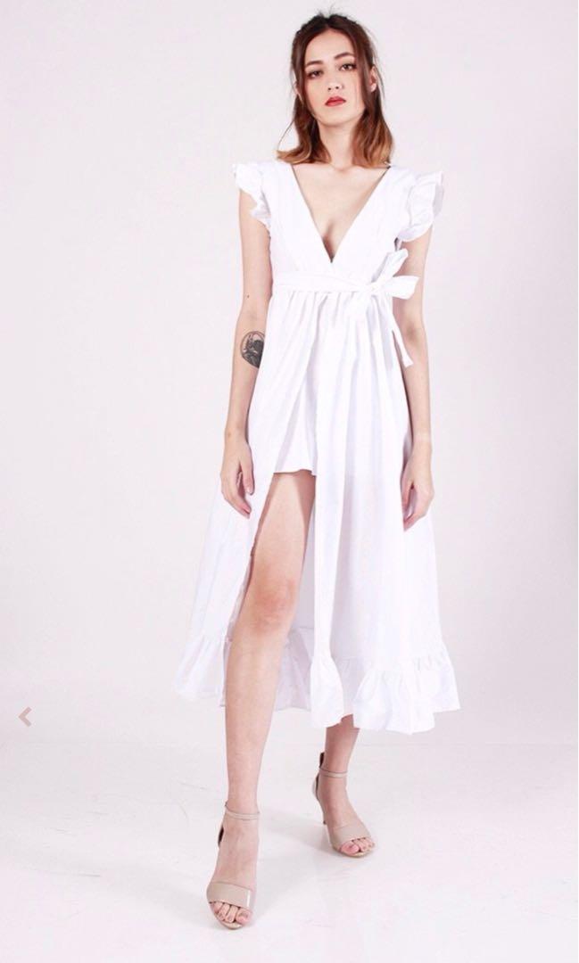 5767dfb0601  NEW  Kissablebella PRINCESS POLLY RUFFLE DRESS (WHITE)