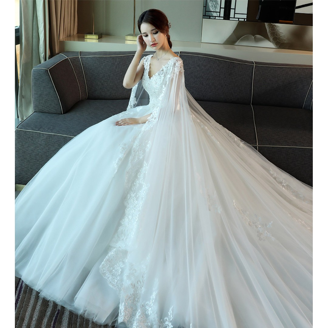 Pre order white cape fishtail Wedding bridal prom dress gown plus ...